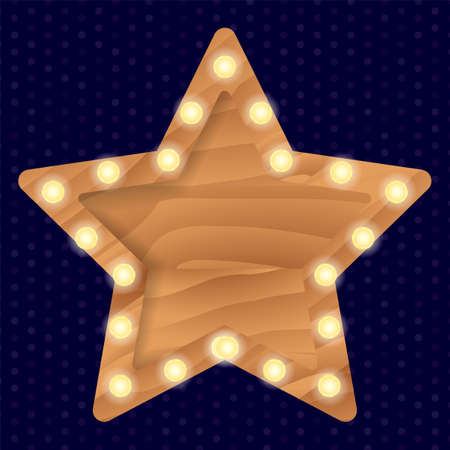 Brown wooden star frame with light bulbs on a wall. Vector stock illustration for card or poster Ilustração