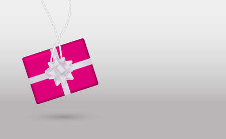 Minimalism style. Pink gift box on a grey background. Vector stock illustration for banner or poster