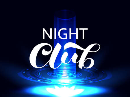 Night club brush lettering. Vector stock illustration for card or poster