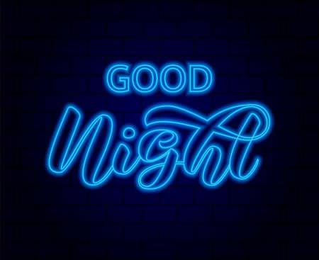 Good night brush lettering. Vector stock illustration for card or poster 向量圖像