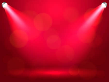 Light rays on a red background. Vector stock illustration for poster or banner