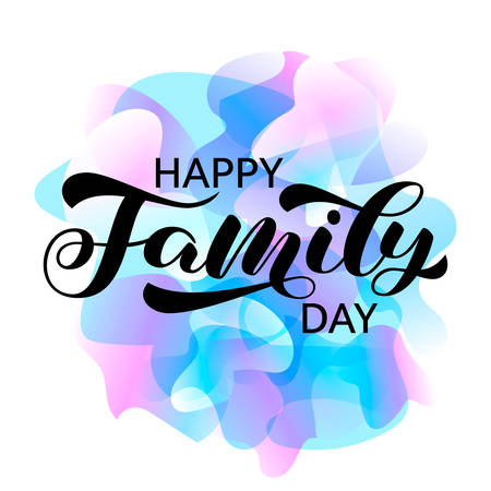 Happy family day brush lettering. Vector stock illustration for card or poster  イラスト・ベクター素材