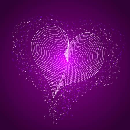 Shiny purple heart background. Vector stock illustration for banner or poster.