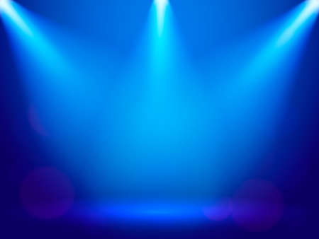Light rays on a blue background. Vector stock illustration for poster or banner