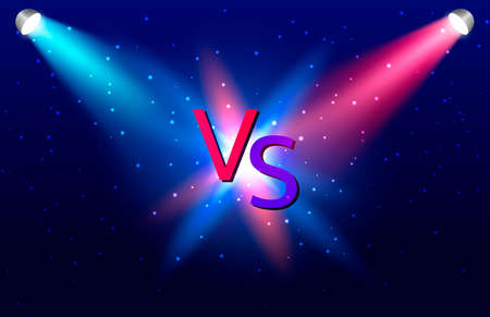 Vector stock illustration. Blue and red  ramps for game competition. Versus letters.