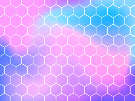 Honeycomb pink and blue background. Vector illustration for poster.  イラスト・ベクター素材