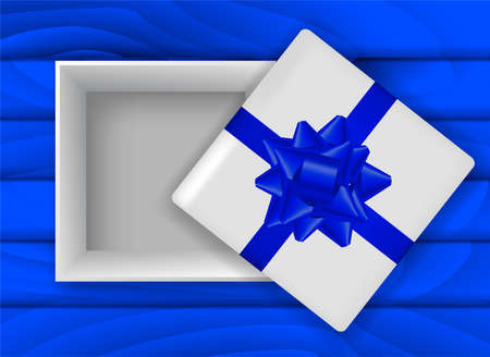 Blue wooden background with open gift box. Vector stock illustration for card or banner