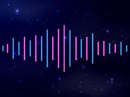 Music neon equalizer. Vector stock illustration for poster or card  イラスト・ベクター素材