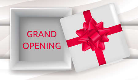Vector stock illustration. Grand opening text in a open box