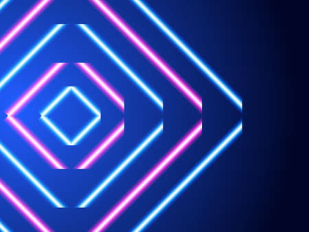 Neon striped lighting square. Abstract background. Vector stock illustration