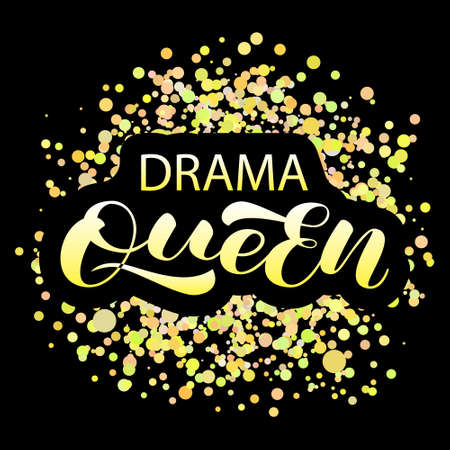 Drama Queen lettering. Vector stock illustration for poster or banner  イラスト・ベクター素材