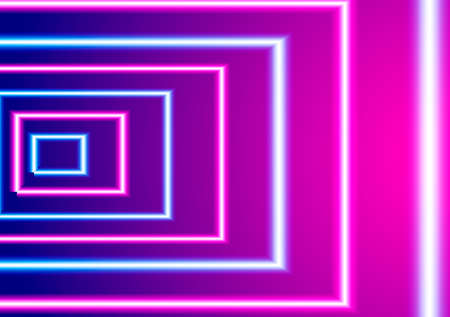 Neon striped lighting entrance. Abstract background. Vector stock illustration