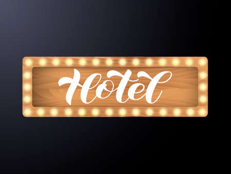Vector stock illustration. Hotel brush lettering for banner or poster