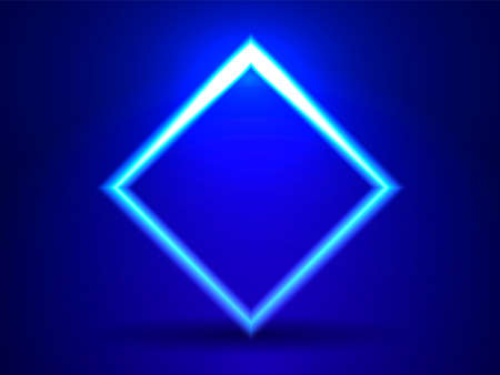 Neon lighting square. Abstract background. Vector stock illustration for poster