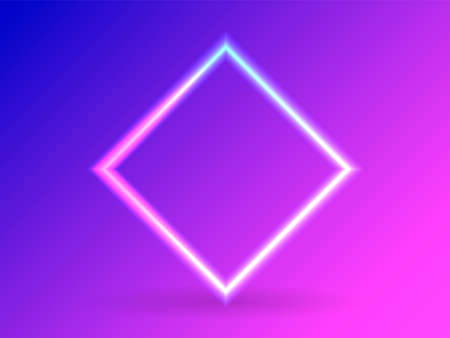 Neon lighting square. Abstract background. Vector stock illustration for poster 向量圖像
