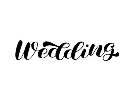 Wedding brush lettering. Vector stock illustration for poster or banner