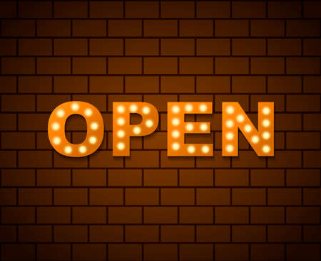 Open sign board with light bulbs on a brick wall. Vector stock illustration for card Иллюстрация
