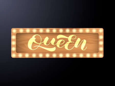 Queen lettering. Vector stock illustration for poster or banner