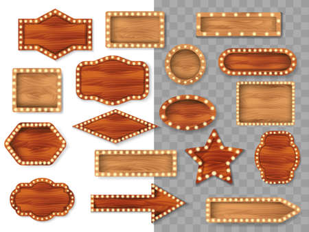 Set of wooden different polygonal boards with light bulbs isolated on transparent background. Vector stock illustration 向量圖像