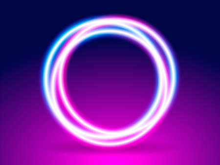 Neon lighting round frame. Abstract background. Vector stock illustration for poster