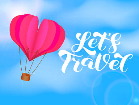 Let's Travel brush lettering. Vector stock illustration for card or poster Иллюстрация