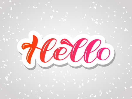 Hello brush lettering. Vector stock illustration for card or poster