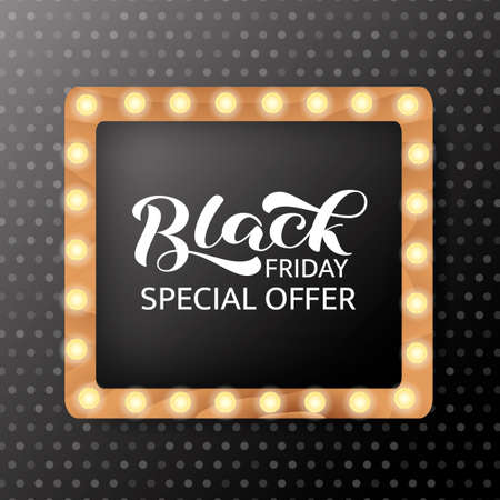 Black friday sale lettering. Quote for card or poster. Vector stock illustration