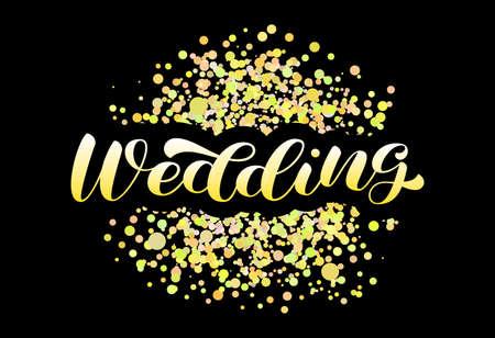 Wedding brush lettering. Vector stock illustration for poster or banner