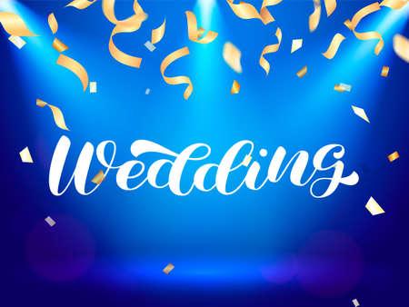 Wedding brush lettering. Vector stock illustration for poster or banner Vector Illustratie