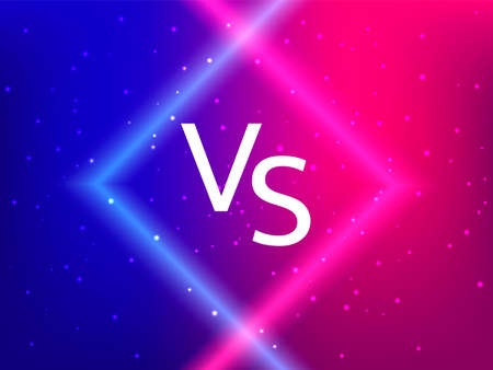 Vector stock illustration. Blue and red neon background with lights for game competition. Versus letters.