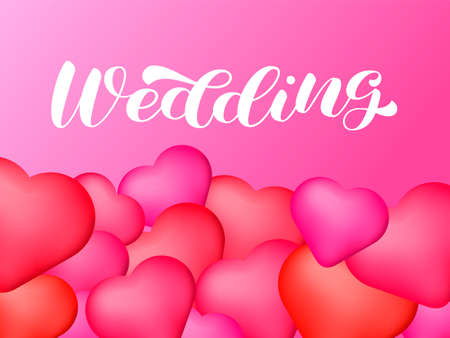 Wedding brush lettering. Vector stock illustration for poster or banner Ilustración de vector