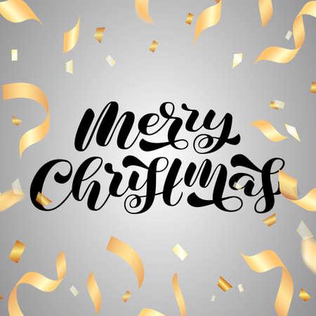 Merry Christmas brush lettering. Vector stock illustration for poster or banner Vector Illustratie