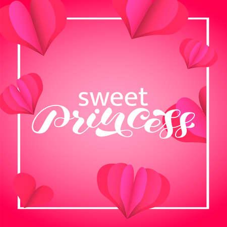 Sweet Princess brush lettering. Vector stock illustration for poster or banner 向量圖像