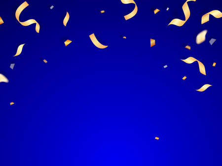 Golden confetti and serpentine on a blue background. Vector stock illustration banner or postcard
