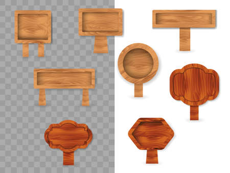 Set of wooden different polygonal boards isolated on transparent background. Vector stock illustration 矢量图像