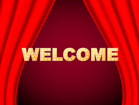 Welcome sign with light bulbs. Vector stock illustration for card or poster