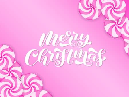 Merry Christmas brush lettering. Vector stock illustration for poster or banner