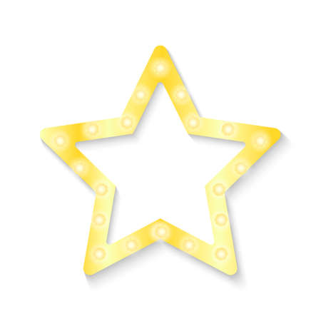 Shiny golden star with light bulbs on a white background. Vector stock illustration for banner or poster. 矢量图像