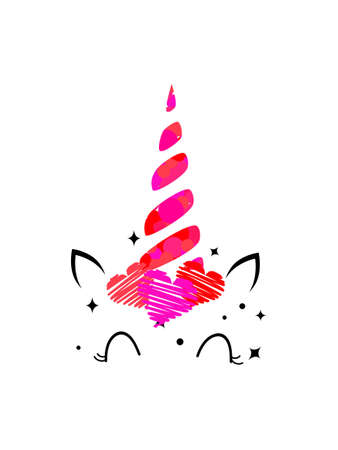 Unicorn face with pink hearts. Vector stock illustration for card or poster, home decor or clothing