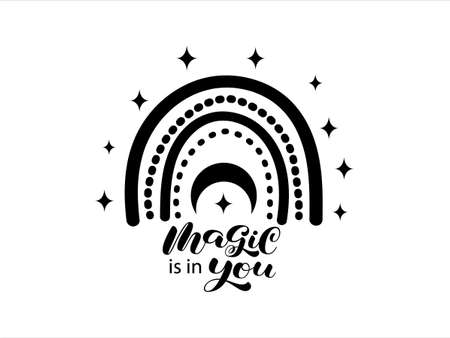 Magic is in you brush lettering. Vector stock illustration for card or poster Illusztráció