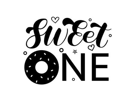 Donuts with sweet one lettering. Vector stock illustration for poster or banner Illusztráció