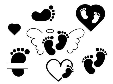 Baby footprint set. Vector stock illustration for poster or banner.