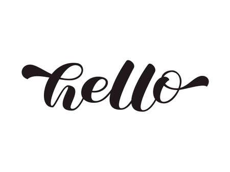 Hello brush lettering. Vector stock illustration for card or poster