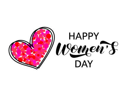 Happy Women's Day brush lettering. International Women's Day March 8. Vector stock illustration for card or poster Illusztráció