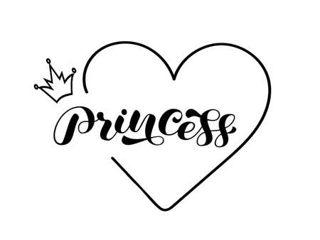 Word Princess brush lettering with heart and crown. Vector stock illustration for poster or banner, clothing