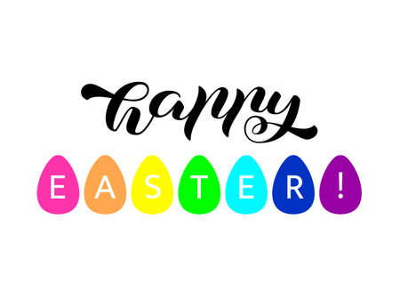 Happy Easter brush lettering. Vector stock illustration for card or poster Illusztráció