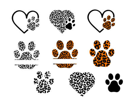Set of leopard prints with paw, frame and hearts. Vector stock illustration for banner or poster. Space for text