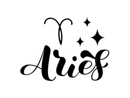 Aries zodiac brush lettering with sign and star. Vector stock illustration for banner or clothes.
