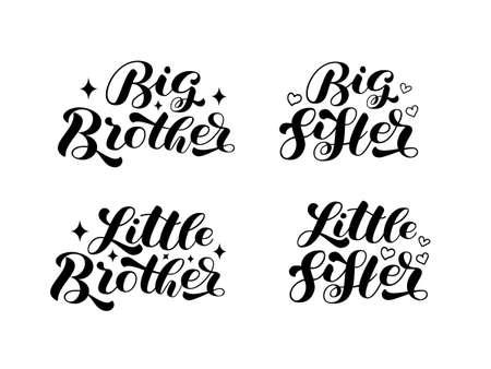 Set Big Brother, Big Sister, Little Brother, Little Sister brush lettering. Words for banner or poster. Vector stock illustration