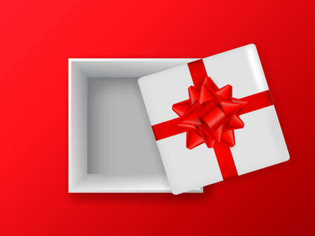 Opened gift box with bow on a red background. Vector stock illustration banner or postcard
